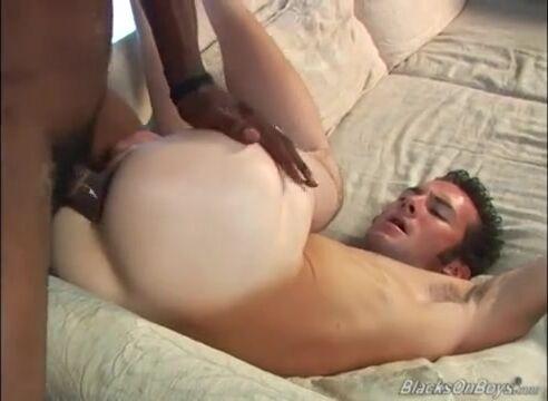 White guy deepthroats on a black dong